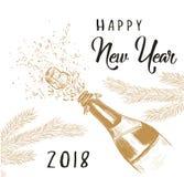 Lyckligt nytt år 2018! royaltyfri illustrationer
