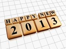 Lyckligt nytt år 2013 i guld- kuber Royaltyfri Bild