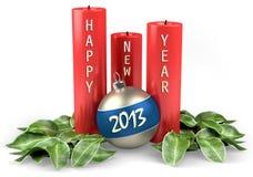 Lyckligt nytt år 2013 stearinljus med julbollen Arkivbilder
