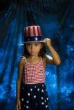 Lyckligt nytt år av 4th av den Juli flickan Arkivfoto