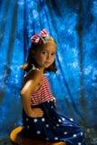 Lyckligt nytt år av 4th av den Juli unga flickan Arkivbilder
