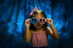 Lyckligt nytt år av 4th av den Juli unga flickan Royaltyfri Fotografi