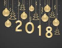 Lyckligt nytt år 2018 Bakgrund för nytt år med guld- hängande bollar, julgranar och band Text designbeståndsdel royaltyfri illustrationer
