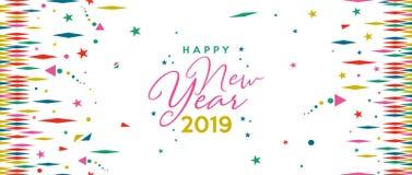 Lyckligt nytt år baner för 2019 ferie färgrengöringsduk vektor illustrationer