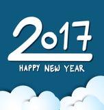 Lyckligt nytt år 2017, blå bakgrund Fotografering för Bildbyråer