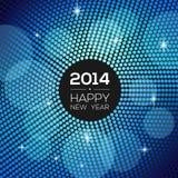 Lyckligt nytt år 2014 - blå diskoljusram Arkivbild