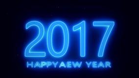 Lyckligt nytt år 2017 - blått stock illustrationer