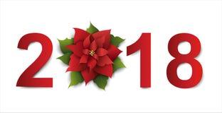 Lyckligt nytt år 2018 Blom- design med julstjärnan Vektorpapper vektor illustrationer