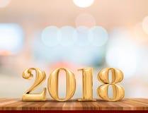 Lyckligt nytt år 2018 3d som framför nytt år för guld- färg på rost Arkivfoton