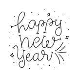 lyckligt nytt år Design för bokstäver för kort för lyckligt nytt år för hand utdragen Gullig klotterjul som handlettering vektor illustrationer