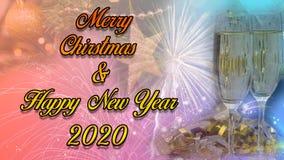 Lyckligt nytt år & design 2020 för julberömaffisch arkivfoto