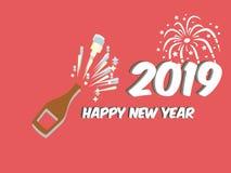 Lyckligt nytt år det bästa tinget på en röd bakgrund för flaska royaltyfri illustrationer