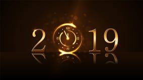 lyckligt nytt år för bakgrund Magisk guld- minut för klockanedräkning fem Guld- nummer 2019 Ljus för design för julnatt royaltyfri illustrationer