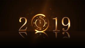 lyckligt nytt år för bakgrund Magisk guld- minut för klockanedräkning fem Guld- nummer 2019 Ljus för design för julnatt stock illustrationer