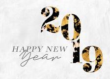 Lyckligt nytt år 2019 för bladguld vektor illustrationer