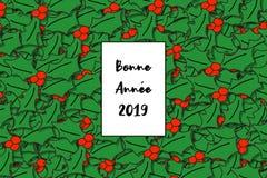 Lyckligt nytt år 2019 för Bonne Année kort i fransman med järneksidor som en bakgrund royaltyfri illustrationer