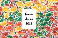 Lyckligt nytt år 2019 för Bonne Année kort i fransman med kulöra järneksidor som en bakgrund royaltyfri illustrationer