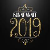 LYCKLIGT NYTT ÅR för BONNE ANNEE 2019 i franskt handbokstäverkort royaltyfri illustrationer