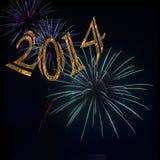 Lyckligt nytt år 2014 för fyrverkerier Fotografering för Bildbyråer