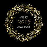 Lyckligt nytt år för guld- julkrans, 2019 på svart, beståndsdel för design för typografibaner blom- gullig royaltyfri illustrationer