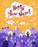 Lyckligt nytt år för hälsningkort Royaltyfri Bild