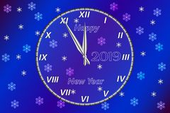 Lyckligt nytt år för hälsningkort Det innehåller en klocka med lyckönskan på bakgrunden av en helgdagsafton för ` s för nytt år m royaltyfri illustrationer