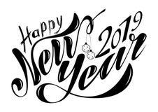 Lyckligt nytt år 2019 för härlig handskriven text Vektorillustration som isoleras på texturerad bakgrund med leksaker för vykorte stock illustrationer