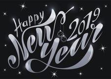 Lyckligt nytt år 2019 för härlig handskriven text Vektorillustration som isoleras på texturerad bakgrund med leksaker för vykorte vektor illustrationer
