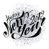 Lyckligt nytt år 2019 för härlig handskriven text Vektorillustration som isoleras på texturerad bakgrund med leksaker för vykorte royaltyfri illustrationer