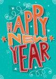 Lyckligt nytt år för handgjord vykort Arkivfoto