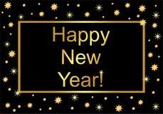 Lyckligt nytt år för inskrift! på en svart bakgrund i guld- bokstäver stock illustrationer