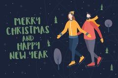 lyckligt nytt år för jul Vinteraftonlandskap med konståkare och snö-täckte träd royaltyfri illustrationer