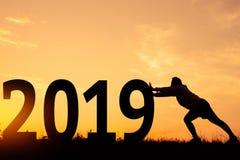 Lyckligt nytt år 2019 för kontur fotografering för bildbyråer