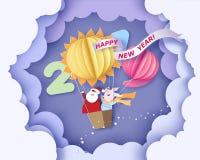 lyckligt nytt år för kort Design för färgpapperssnitt stock illustrationer