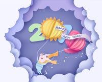 lyckligt nytt år för kort Design för färgpapperssnitt vektor illustrationer