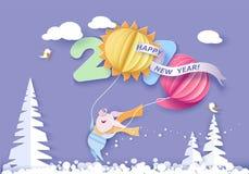 lyckligt nytt år för kort Design för färgpapperssnitt royaltyfri illustrationer