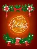Lyckligt nytt år för kort, jul som skiner bollvektorn royaltyfri illustrationer