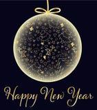 lyckligt nytt år för kort Julgranleksak tecknad hand stock illustrationer