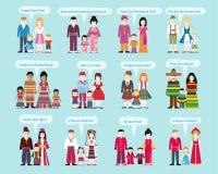 Lyckligt nytt år för olika nationaliteter vektor illustrationer