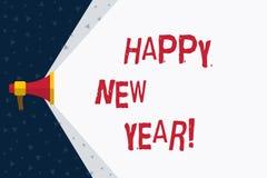 Lyckligt nytt år för ordhandstiltext Affärsidé för glad Xmas för lyckönskan alla börja av Januari vektor illustrationer