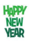 Lyckligt nytt år för söt grön bokstäver på en vit bakgrund Royaltyfri Bild