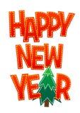 Lyckligt nytt år för söt röd bokstäver på en vit bakgrund Arkivfoto
