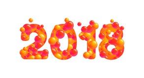 Lyckligt nytt år för vektor 2018 på vit Arkivfoto