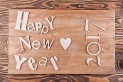 Lyckligt nytt år för Wood inskrift Arkivfoto