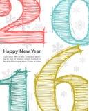 Lyckligt nytt 2016 år ferie för hälsningar för julsammansättning smyckar kall grön säsonger för fotopresentsred vektor illustrationer