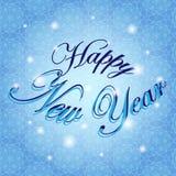 lyckligt nytt år Ferievektorillustration vinter för blåa snowflakes för bakgrund vit Arkivbild