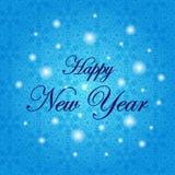 lyckligt nytt år Ferievektorillustration vinter för blåa snowflakes för bakgrund vit Arkivfoto