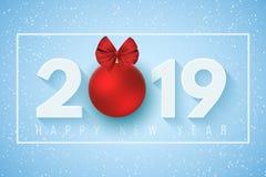 Lyckligt nytt år 2019 Festligt baner för ditt projekt Fallande snöflingor på ett ljus - blå bakgrund Pappersnummer med ett nytt å stock illustrationer