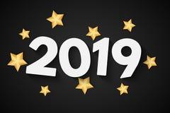 Lyckligt nytt år 2019 Festligt baner för ditt projekt Guld- stjärna på en svart bakgrund greeting lyckligt nytt år för 2007 kort  royaltyfri illustrationer