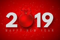 Lyckligt nytt år 2019 Festligt baner för ditt projekt Snöflingor på en ljusröd bakgrund Pappersnummer med en leksak för ` s för n vektor illustrationer